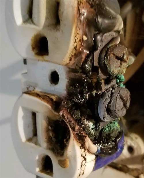 Melted Outlet From Fire
